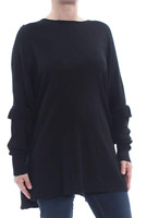 New NY Collection Womens Size L Black Ruffled Wide Neck Poncho Sweater Top $60