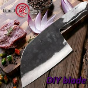 7'' Handmade Forged Chef Knife Clad Steel Forged Chinese Cleaver DIY Blank Blade