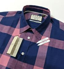 fe117c23344 Thomas Pink Mens Shirt Slim Fit Pink Navy Gingham Check Size 16 UK M