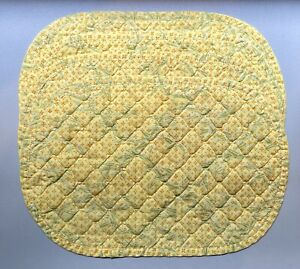 4 Vintage 1950s Bright Yellow Floral Quilted Oval Placemats Country Kitchen