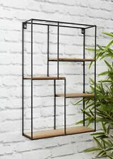Black Metal Wood Rectangular Industrial Retro Wall Unit Display Shelf Shelves