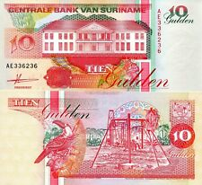 SURINAME 10 Gulden Banknote World Paper Money UNC Currency Pick p137a 1991 Bill