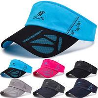 Visor Sun Plain Hat Sports Sunscreen Cap Golf Tennis Beach Adjustable Men Women