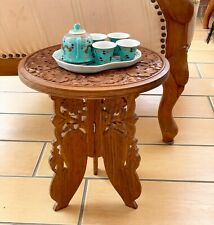 VINTAGE INDIAN ASIAN CARVED WOODEN FOLDING SIDE TABLEPLANT STAND 13 INS TALL