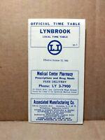 1952 Long Island Railroad Local Time Table Lynbrook New York Railway Ads