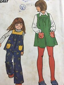Butterick 3921 Vintage Sewing Pattern Childs Girls Jumper Top Pants Size 2