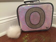 Justice Silver Sequin Sparkle Unicorn Initial O Lunch Box Tote New!