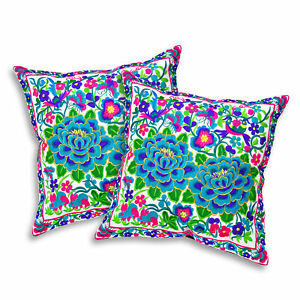 Lustrous Tropical Flower Garden Embroidery Throw Pillow Cover Set of 2