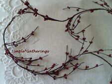 Berry Garland with BURGUNDY Pip Berries Primitive WISPY 4.5 ft  Country Crafts