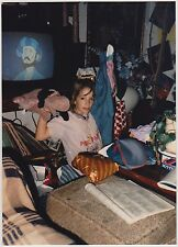 Vintage 80s PHOTO Young Girl Holding Up Gifts Cartoon On TV In Background