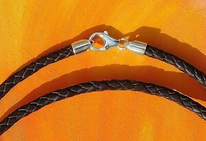 Mens / ladies 5mm Brown leather & Sterling Silver choker necklace - Lyme Bay Art