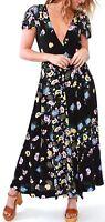 Free People Gorgeous Jess Wrap Dress Slit Maxi Midi Floral Multicolor OB770124