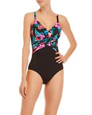 59107dc129 $150.00 Miraclesuit 18 48 Slimming Swimsuit Black Hibiscus Floral 1 Piece
