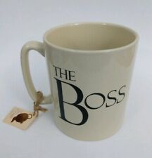 """The Boss"" 20 Oz Oversize Jumbo Coffee Cup Mug The Old Pottery Company Beige"