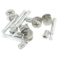 """5 Sets Furniture Connector 0.55"""" Dia Cam Fittings Pre-inserted Nuts Dowels LW"""