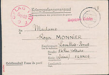1943 Germany French Officer Prisoner of War POW Camp Cover Oflag 8F to France