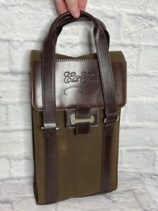Cutter&Buck Green Brown Cloth Leather Two Bottles Wine Valet Bag