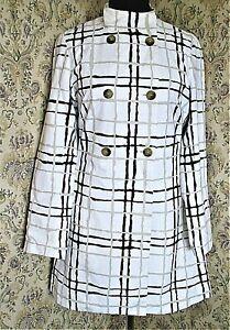 White, navy & taupe wavy stripe/check cotton rich coat Small 16 BANANA REPUBLIC