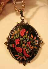 Handsome Leaf Rimmed Painted Wood Black with Raspberries Greens Pendant Necklace