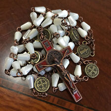 * Vintage Mother of Pearl Bead CATHOLIC ROSARY Bronze st.benedict Cross necklace