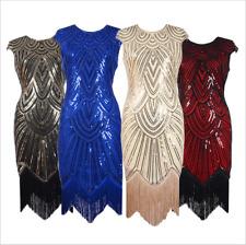 1920s Flapper Dress Great Gatsby Charleston Fringe Sequins Beaded Dress Size UK