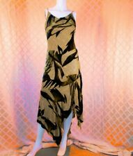 ALBERTO MAKALI  Gold Hint of Lime, Brown and Beads Woman Long Dress with Scarf