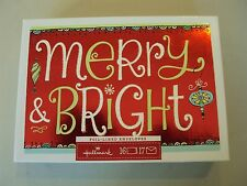 "Hallmark Boxed Lot Of 16 Christmas Cards Nib ""Merry Bright"" Holiday Foil #vtnj"