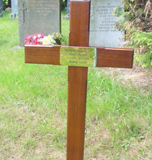 """36"""" Memorial Wooden Cross Grave Marker & Free Plaque & Free Engraving"""