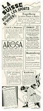 Publicité ancienne la Suisse pour les sports d'hiver 1930 issue de magazine