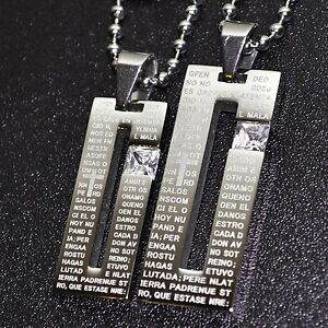 Partner Necklace Cross Prayer Our Father Stainless Steel 2 Trailer +2 Chains