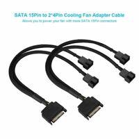 2Pcs SATA 15Pin zu 2x 4Pin PC Lüfter Netzteil Verlängerungskabel Draht