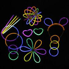 """100P Glow Sticks Bracelets Necklaces Party Favors Neon Color + 100 Connectors 8"""""""