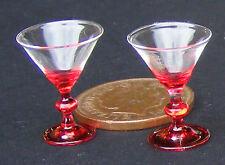 1:12 Bicchieri Da Martini scala 2 con gambo ROSSO & Base in miniatura casa delle bambole GLA44R