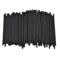 100X Black Plastic Mini Cocktail Straws*For Celebration Drinks Party Supplies JP