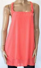 FOXX FOE Designer Coral Chiffon Sleeveless Day Dress Size 8/XS BNWT #SG12