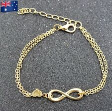 2X New Infinity Bracelet with Heart Charm Link - Gold
