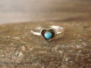 Navajo Indian Sterling Silver Heart Turquoise Ring Size 6 by Neha