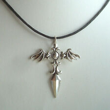"""Large Winged Dagger Cross Pendant 18"""" Cord Necklace"""
