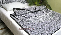 Indian Ombre Mandala Queen Quilt Reversible 100% Cotton Filled Blanket Decorate