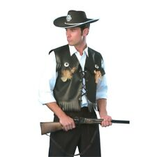 Mens Black Leather Style Cowboy Waistcoat Fancy Dress Costume Cow Boy Outfit