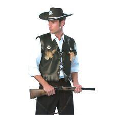 Mens Black Cowboy Waistcoat - Fancy Dress Costume Vest Outfit Deluxe Western 42