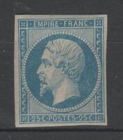"""FRANCE YVERT 15  SCOTT 17  """" EMPEROR NAPOLEON 25c BLUE 1853 """" MH VF SIGNED P377"""
