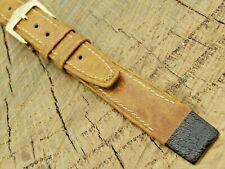 Hirsch NOS Vintage Unused Brown Camelgrain Watch Band w Gold Tone Buckle 14mm