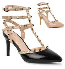 Zapatos de fiesta para Mujer con Tiras Puntera en Punta Alto Detalle Con Tachuelas Tacón Stiletto de noche