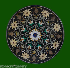 "42"" Black Coffee Table Top Inlay Pietra dura​ Art Work For Home Decor & Gifts"