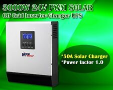 24v 3000w Solar inverter 230vac + 50A solar charger + battery charger 30A