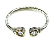 5CTW Cushion Cut Clear AAA Cubic Zirconia Cable Two Tone Bangle Bracelet