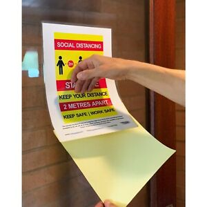 High Clear A4 Sticky Back Adhesive Heat Seal Laminating Pouches - Signage (100)