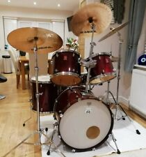 More details for premier vintage drum kit 1990's, meinl cymbals stands cover cases pedal snare
