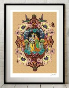 Indian Krishna Radha Godess Hindu India Yoga Colour Art Poster Print By Msdre